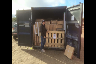 shipping container arriving with furniture